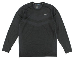 Nike Mens Dri Fit Knit Long Sleeve Running Shirt Heather Black