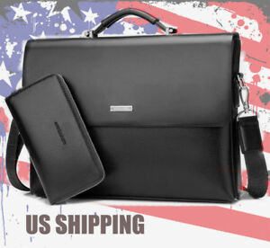 2018 New Business Mens Black Leather Briefcase Bag Handbag Laptop Shoulder Bag