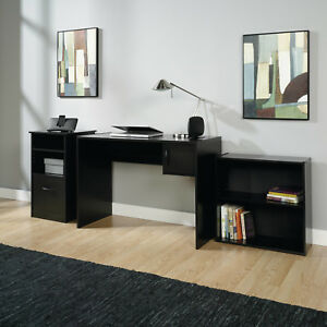 Bookcase Cabinet Computer Desk With Drawer 3-Piece Office Set Black