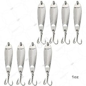 8pcs 1oz Hammered Fishing Spoons Hopkins style Chrome Silver Shorty Lures @US