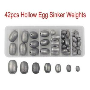 Fishing Egg Sinker Weights Kit Olive Lead for Saltwater or Bass 7 Sizes (42 pcs)