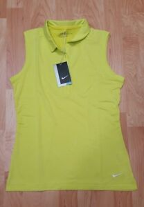 Women's Small Yellow Golf Icon Heather Dri-Fit Sleeveless Polo Shirt NWTs $60