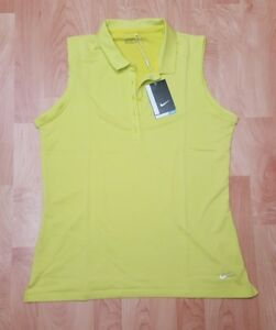 Women's Large Yellow Golf Icon Heather Dri-Fit Sleeveless Polo Shirt NWTs $60