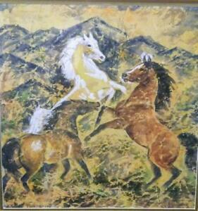 Signed Original ILa McAfee Watercolor Painting White Stallion With two Horses
