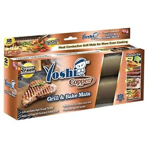 2 Grill And Bake Mat BBQ Grilling As Seen On TV Copper Reusable Non-Stick Cook