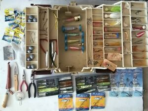 Vintage Plano 8606 Fishing Tackle Box Full of Old Soft and Hard Lures and More
