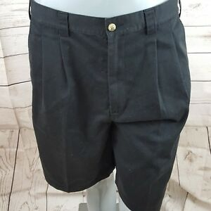 Ashworth Men's Golf Shorts Black Pleated Size 34 Excellent Condition N45