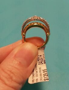 Neat HSN Victoria Wieck 2 Toned Paved White Topaz Ring Size 5 925 Vermeil New