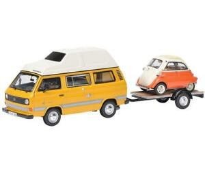 Schuco 143 Volkswagen T3 Joker camping bus & trailer and BMW Isetta 450330300