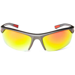 Under Armour Zone 2.0 Sunglasses Satin Carbon Grey Frame Orange Mirrored Lenses