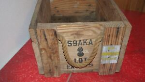 Vintage ammo Wooden Box Wood Box Distressed Rustic Primitive Arms Rockets S9 AKA