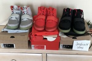 DS Nike Air Yeezy 2 Solar  Platinum  Red October sz 12 LOT! 💯 Auth Off White