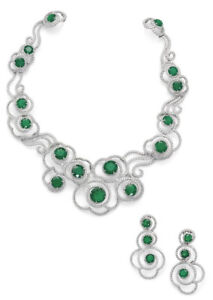 16.50ct NATURAL DIAMOND EMERALD 14k WHITE GOLD WEDDING ANNIVERSARY NECKLACE SET