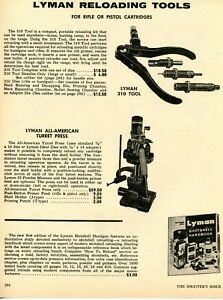 1972 Print Ad of Lyman All American Turret Press & 310 Reloading Tool