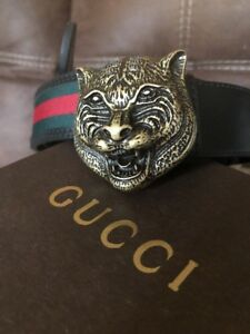 Brass Lion Buckle Top Gucci Brand Designer Men's Leather Belt 2018 120 48