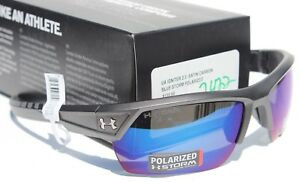 UNDER ARMOUR Igniter 2.0 POLARIZED Sunglasses Satin CarbonBlue Storm NEW $160