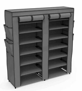 Home Basics Polyester 7 Tier Multi-Purpose Storage Shelf Grey - SC49722