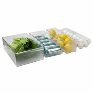 Home Basics  4 Piece Multi-Purpose Plastic Fridge Bin Set Clear - FB44990