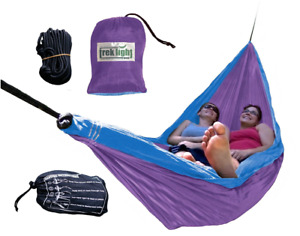 Double Nylon Hammock Hiking Camping Outdoor Portable Bed Hanging Swing Purple