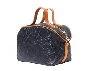Leather Bag Italy – Black – Embossed Pattern - Makeup Bag