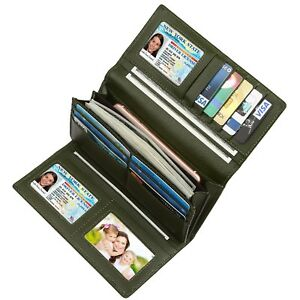 Identity Shield Blocking Ladies Women Trifold Cards Holder Leather RFID Wallets