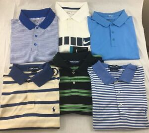 Lot of 6 Mens L Large Logo Golf Shirts 3 Ralph Lauren Polo 3 Nike DRI-FIT