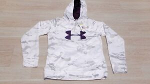 Under Armour Womens Pullover Hoodie Size Small White Camo Polyester Loose Fit A8