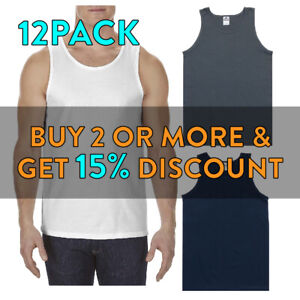 12 PACK AAA 1307 MENS PLAIN TANK TOP SLEEVELESS MUSCLE TEE T SHIRT GYM FITNESS
