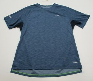 CHAMPION #T3715 Men's Size L Athletic DUO-DRY FITNESS Short Sleeve Blue SHirt
