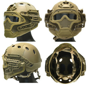 Maritime PJ Tactical Airsoft G4 Bump Helmet System + Face Mask Goggles in Tan