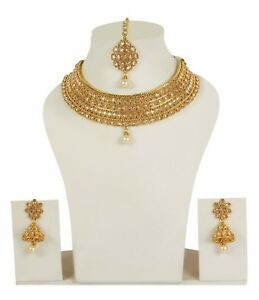 Indian Necklace Jewelry Set Bridal Gold Plated Wedding Bollywood Fashion Earring