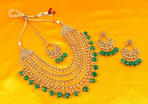 Indian Fashion Jewelry Necklace Set Gold Plated Bollywood Wedding Earrings