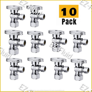 Plumbing Lot 10pc 1 4Turn Angle Stop Water shut off Ball Valve 5 8quot;OD x 3 8quot;Comp