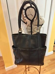 Tignanello Black Pebbled Leather Tote Shoulder Bag Handbag Woven Straps