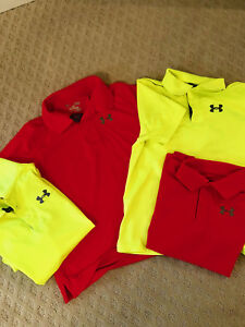 BOYS UNDER ARMOUR GOLF SHIRT NEON YELLOW AND NEON ORANGE PRE OWNED FAST SHIP