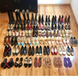 LOT OF 50 PAIRS OF SHOES - SANDALS FLATS HEELS AND BOOTS