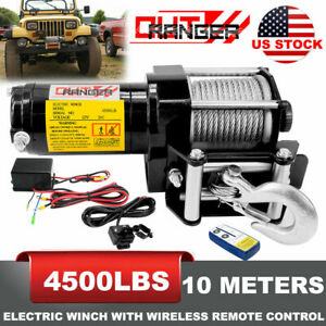 4500LB Winch ATV UTV 12V Electric Remote Waterproof Boat Steel Cable Kit offroad