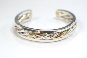 925 Sterling Silver Gold Plated Twist Cable Wide Cuff Bracelet 7