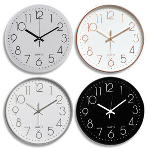 Modern Wall Clock Silent Non ticking Battery Operated 12quot; Round Clock Home Decor