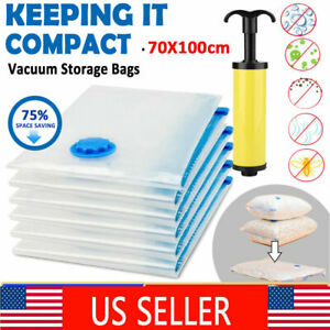 12x Jumbo Large Vacuum Storage Bags Seal Space Saving Clothes Quilts +Hand Pump