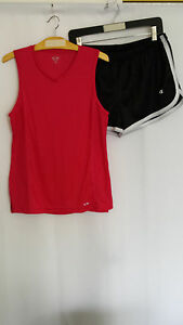 Set of Outfit Women Champion Authentic Runner Hike Pink Tank Top Black Shorts M
