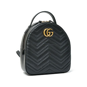 Authentic Gucci GG Marmont Women's Backpack Black Leather 476671 FS Japan