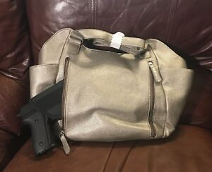 VISM BWL003 DESIGNER HANDGUN CONCEALED CARRY CCW PURSE QUILTED HOBO GRAY RL USE