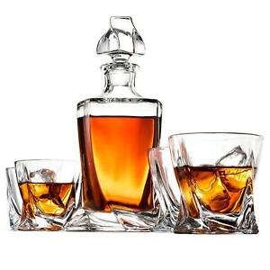 Crystal Whiskey Decanter Set - High-End 5-Piece Whiskey Decanter Set,