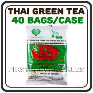 ORIGINAL NUMBER ONE Thai Green Boba Milk Tea Mix Latte Bubble, 40 BAGS Case