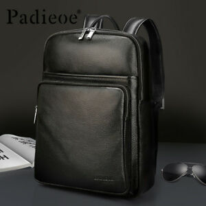 Padieoe Men Backpack Genuine Leather Backpack Male Large Capacity Laptop Bags