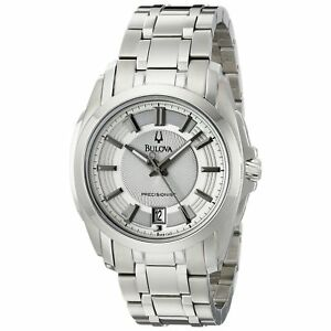 Bulova Mens 96B130 Precisionist Longwood Silver Tone Bracelet Dress Watch $450