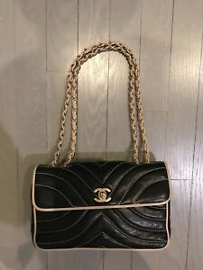 CHANEL Quilted Black Leather Chevron Bag!