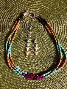 Jay King multi color turquoise necklace and earring set