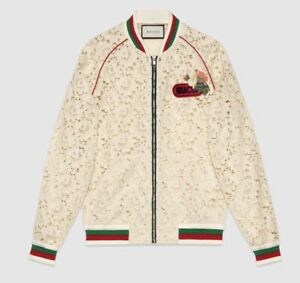 Gucci Women Size 42  6 Flower Lace Bomber Jacket $2800